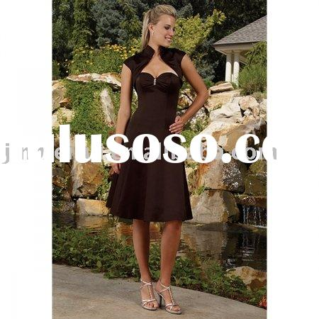 2010 New Style Simple A-Line Strapless Knee Length Satin Bridesmaid Dresses JB-1291