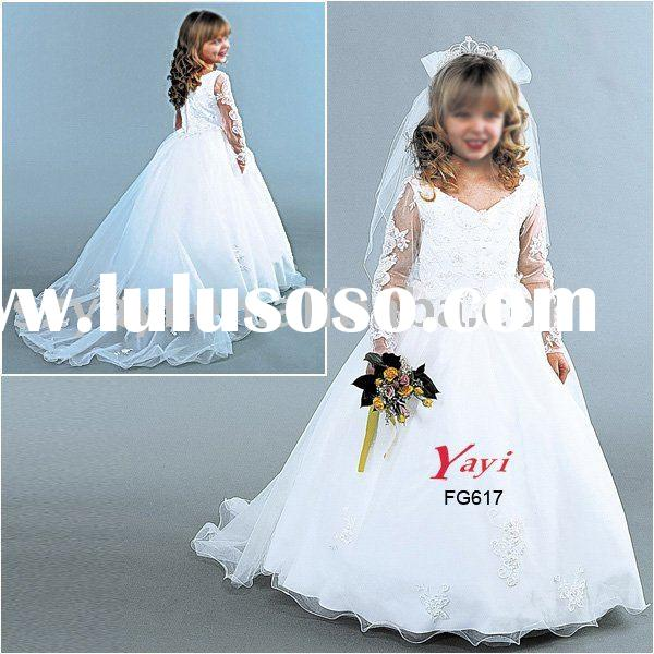 2010 Satin tulle halter V neckline Long sleeve white Flower girl's dress FG617