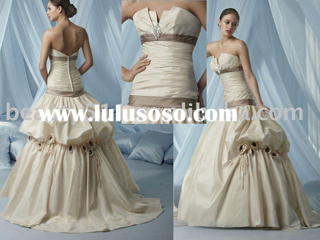 2010 popular strapless vintage wedding dress ql1248