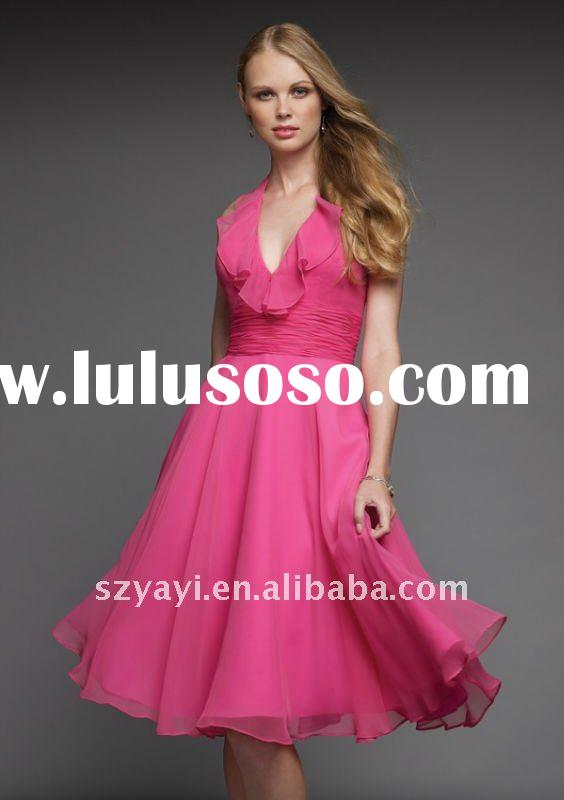 2011 Custom Made Taffeta light pink chiffon knee-length bridesmaid dresses