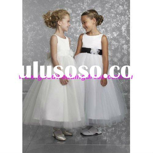 2011 Latest Long White Flower Girl Tulle Dress