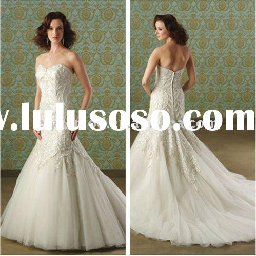2011 Well Designed Sweetheart Strapless Organza and Tulle Mermaid Wedding Dresses