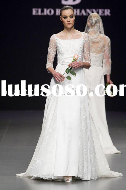 2011 elegant vintage long sleeve bridal dress wedding gown WDAH0564