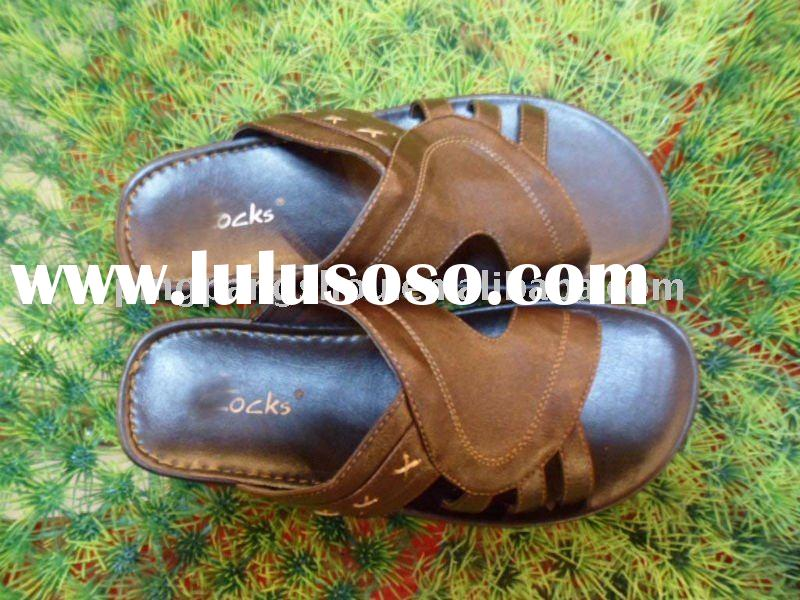 2011 men latest fashion arabic pu slippers and sandals shoes factory