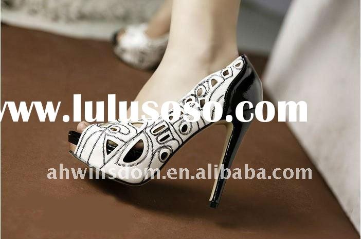 2011 new style real quality lady's fashion fish mouth waterproof high heel shoes white and b