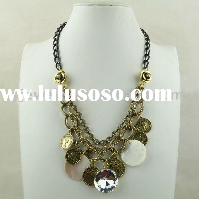 2011 newest large handmade costume jewelry zinc alloy craft necklace