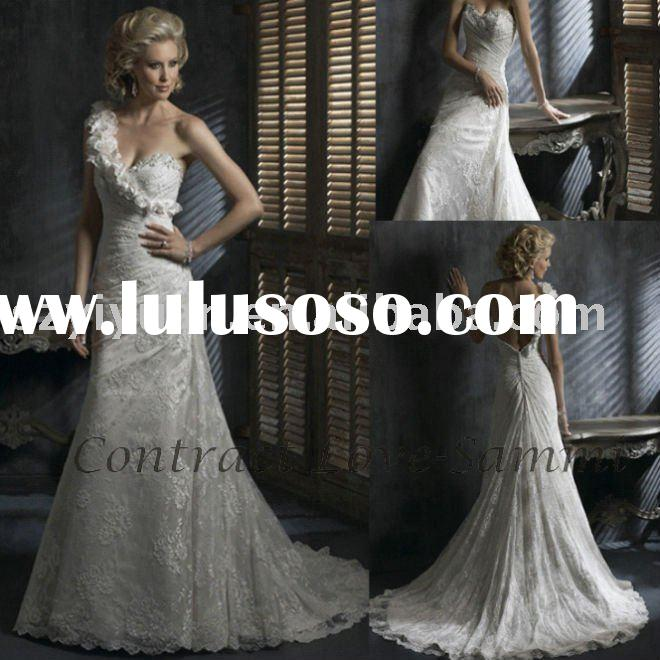 2011 one shoulder white ivory silk lace bridal wedding dress