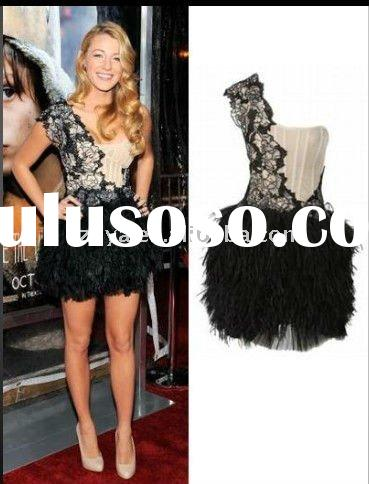 2011 one shouler boned black lace beaded celebrity red carpet short dress RB025