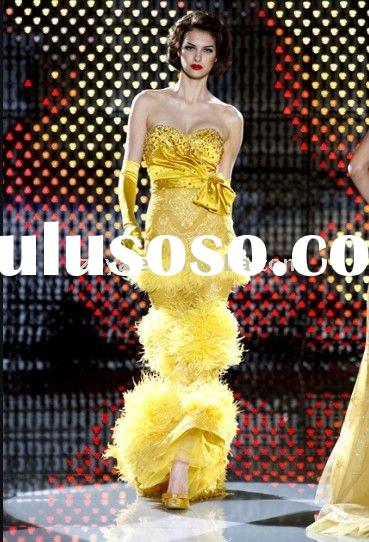2011 popular seamist yellow strapless sweetheart feather prom dresses evening dresses wlf776