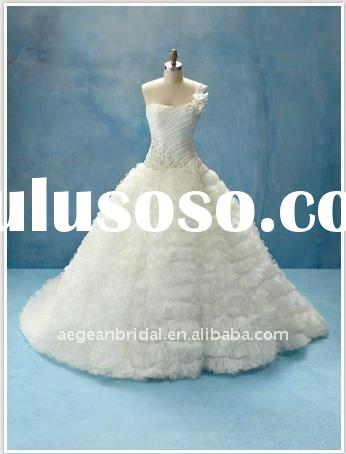 2011 wholesale factory romantic one-shoulder beaded tulle taffeta ball gown bridal wedding dress ZS-