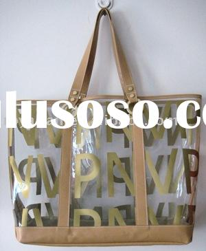 2012 Beach tote bag with printed logo on clear pvc