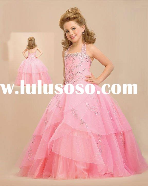 2012 Graceful halter beaded cute ball gown flower girl dress YS-1219