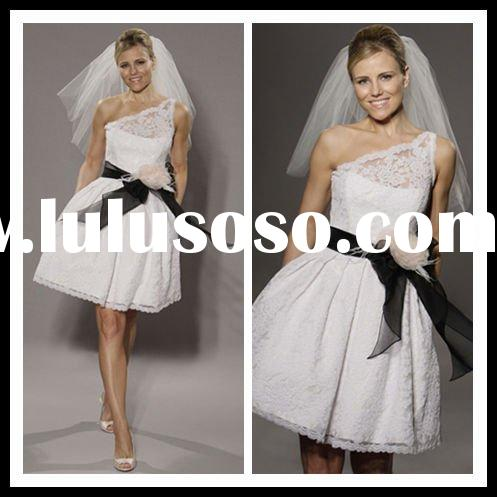 2012 Hot sale lace tulle short wedding dresses white