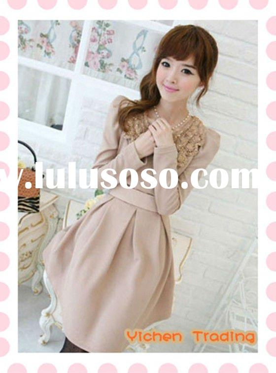 2012 Korean style long sleeve sequin cotton dress