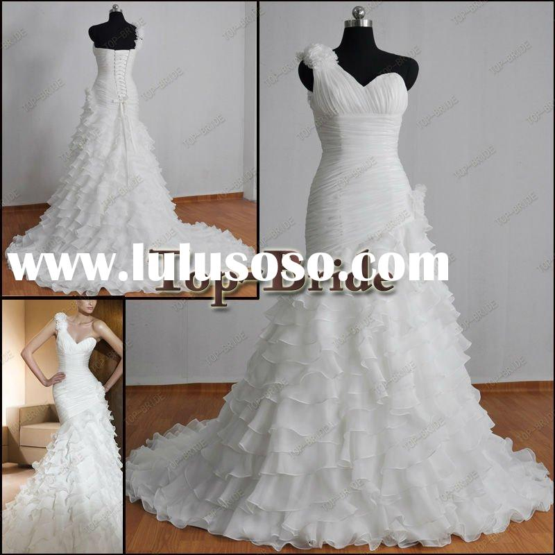 2012 Real Samples Wholesale Chiffion Ruffle Falbala Bridal Wedding Dresses/Gowns Professional Handcr