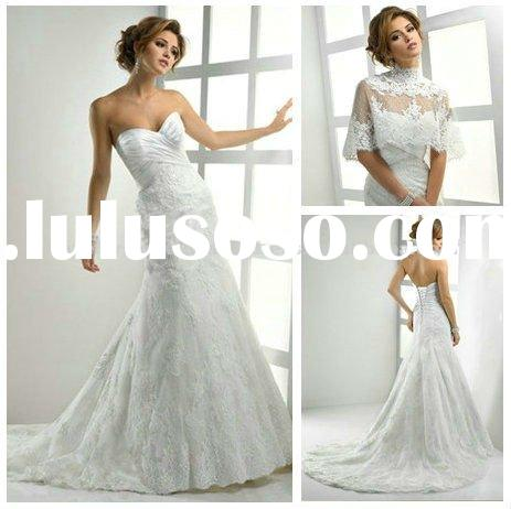 2012 Sheath Vintage Lace Wedding Dresses With Bolero
