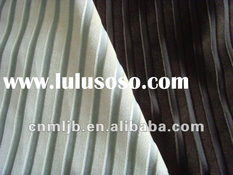 2012 fashionable sofa fabric 100% Polyester Yarn dyed cation Tricot Velvet Fabric for sofa