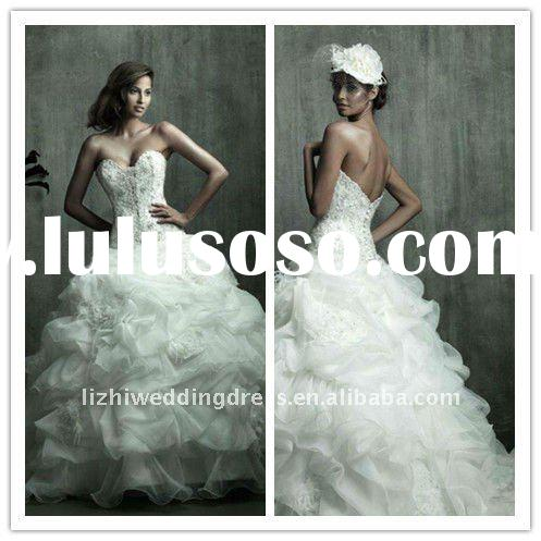 2012 hot sale sweetheart mermaid white organza designer affordable wedding dresses ball gown dress J