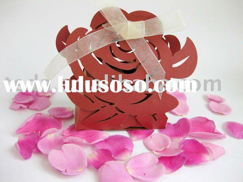 2012 laser cut Red rose flowers paper wedding favour sweet box