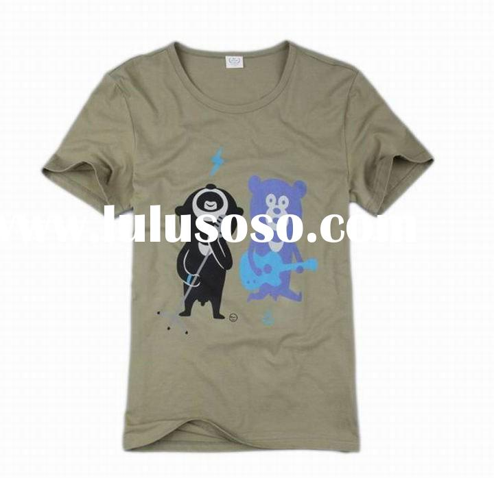 2012 men fashion newest design cotton T-shirts plain printing in guangzhou