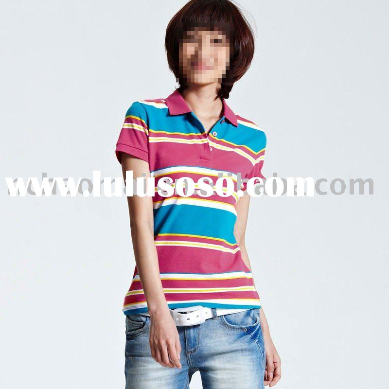 2012 new design ! best quality fashion women's cotton polo t-shirt with stripe