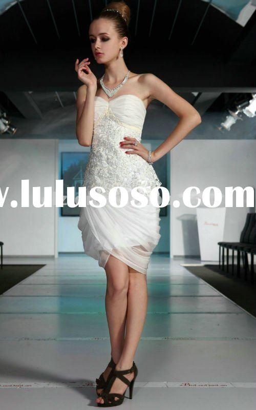 2012 new fashion white strapless women short Prom Dresses D82661