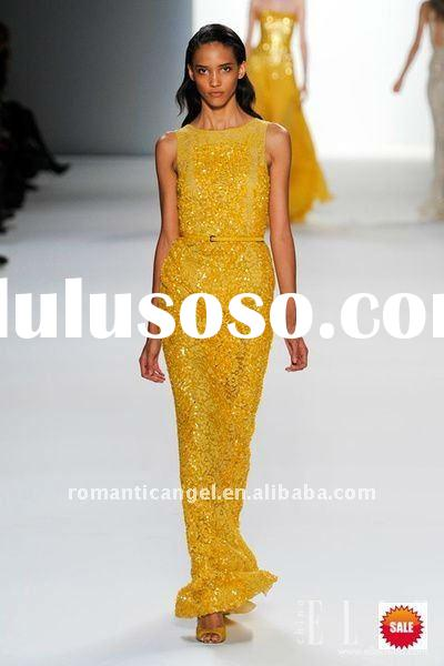 2012 new style elie saab yellow shining beads evening dress