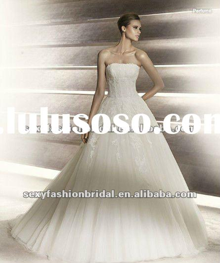 2012 strapless sleeveless boned cosert bodice a line french lace wedding dress
