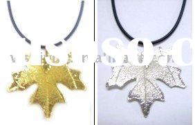 24 k gold plated natural leaf pendant & necklace