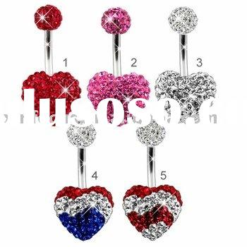 360 CZ Pave Heart Belly Ring by Ferido, Crystal Body Piercing Jewelry