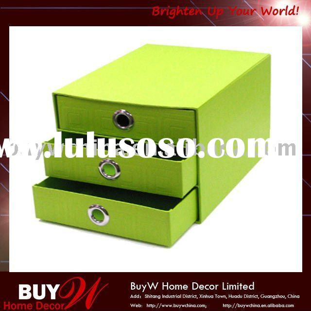 3 drawer decorative cardboard storage box with silver holes