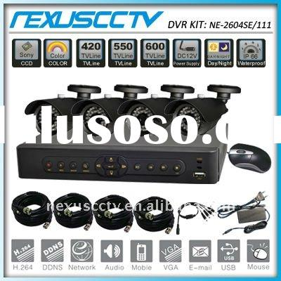 4Ch DVR&Camera kit support Network, Mobile and CMS, security camera system (NE-2604SE/111)