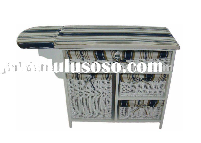 4-drawer wood cabinet with wicker basket, wood cabinet with ironing board