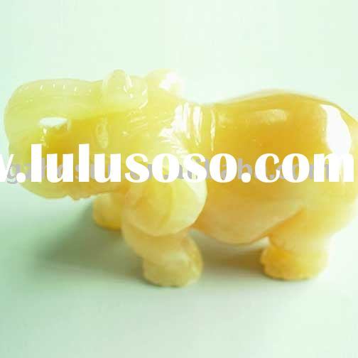 "4"" gemstone carved elephant in yellow jade"