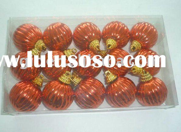 6cm orange shiny/ matt stripe Christmas tree plastic balls/ Christmas ornament 15 balls gift box