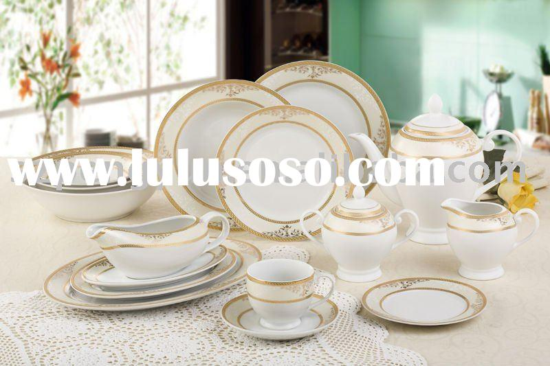 87pcs fine porcelain bone china ceramic round shape tableware dinner set/dinnerware/kitchenware