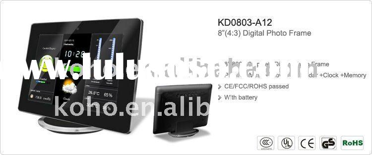 """8"""" battery digital photo frame with weather station"""