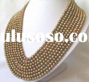 8 strands light yellow AAA quality fashion Freshwater Pearl Necklace for wedding necklace