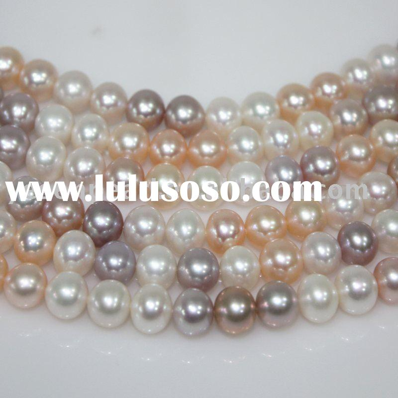9.0-10.0mm multi-color freshwater pearl strand necklace jewelery