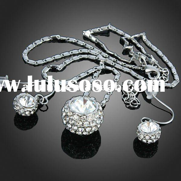 ARINNA Clear Rhinestone Ball Dangle Earring Necklace Set Crystal 18k White Gold Plated Jewelry Set G