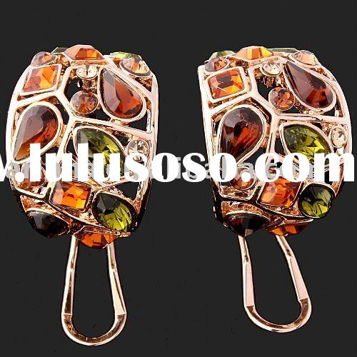 ARINNA Rose Gold Plated Fashion elegant citrine multiply crystal earrings E0482