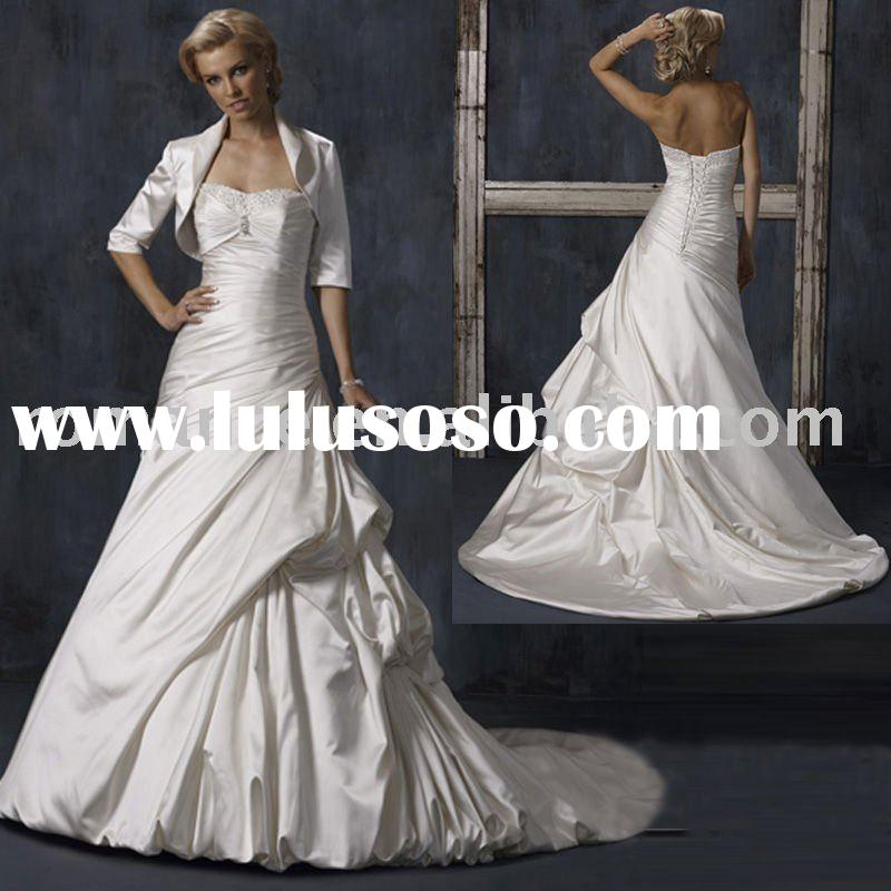 A-line Taffeta Open Back Bridal Wedding Dress with Long Sleeves Jacket