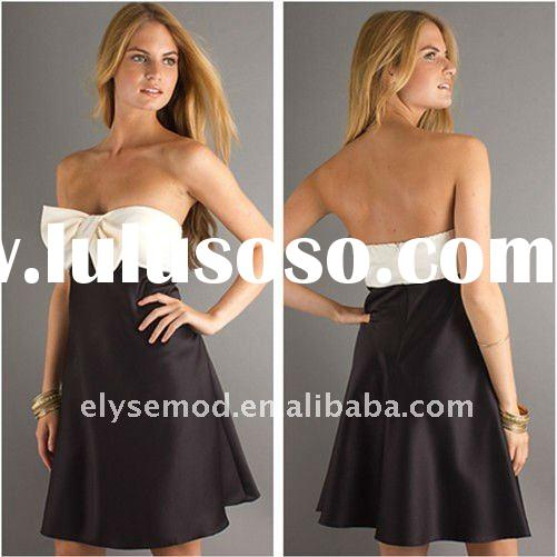 Appealing A-line Strapless Satin Knee Lenght Black and White Short Dresses