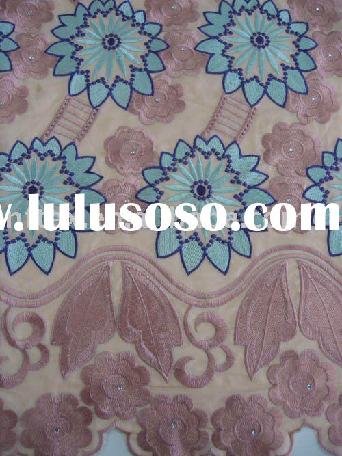 April New designs!!! African Voile Lace,Swiss cotton lace DF038 with reshinestones,Wholesale and ret