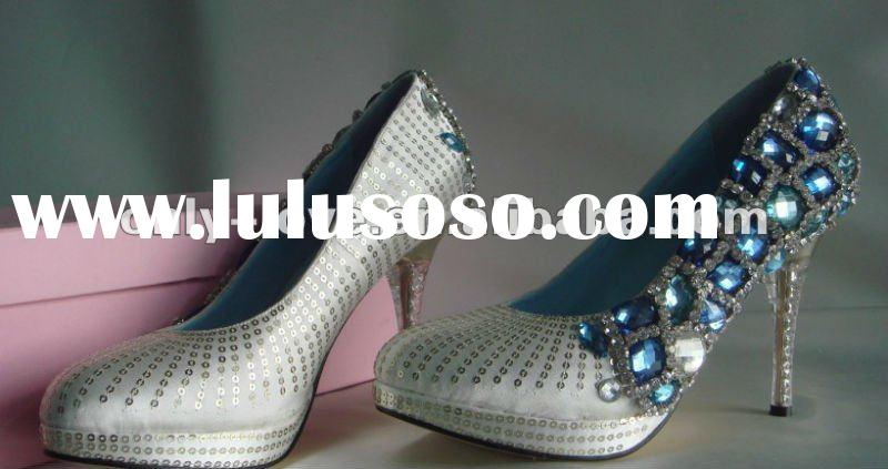 BS028 beautiful high quality white bridal wedding shoes with blue rhinestones