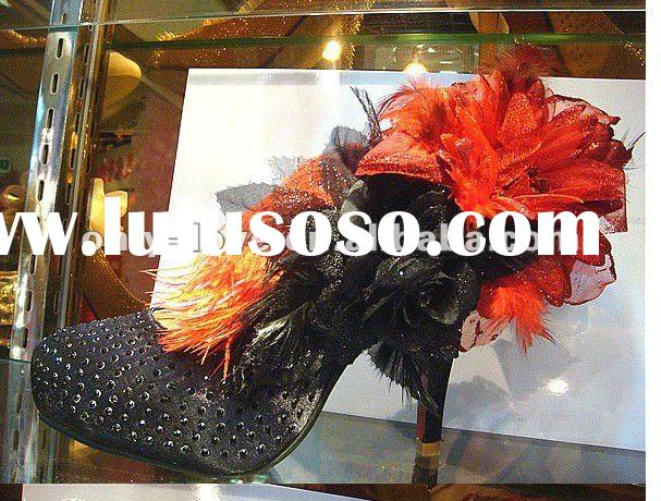 BS153 big flower feather stones black wedding shoes evening shoes stage shoes party shoes