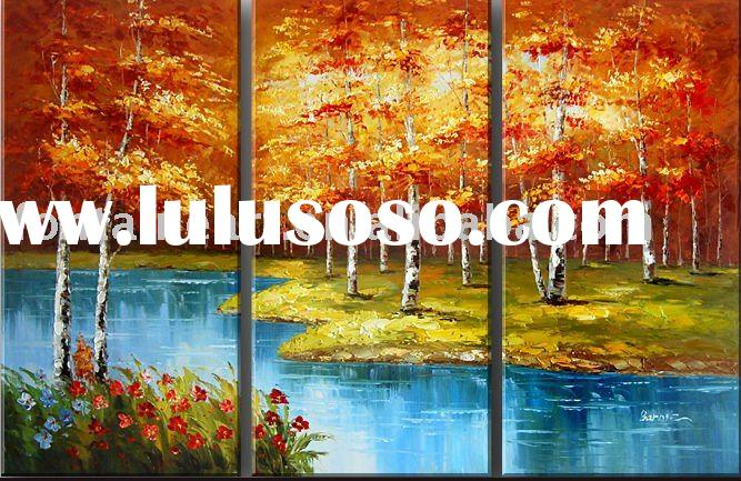 Beautiful Group Landscape Autumn Birch Trees Painting (3 panels)