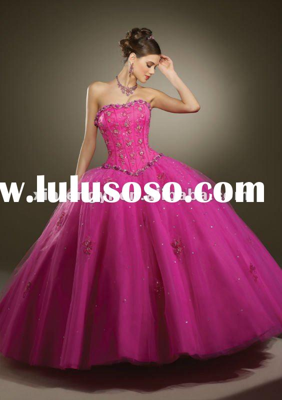 Beautiful strapless neckline ball gown organza quinceaneras prom dresses 2012