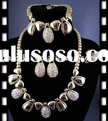 Big Gold Plated Jewelry Set African Necklace Jewellery Set