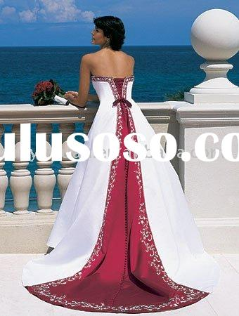 China red and white well matched vintage wedding dresses AAW-040